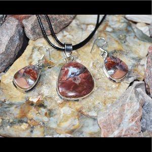 Redish-Brown Jasper Pendant & Earrings Set
